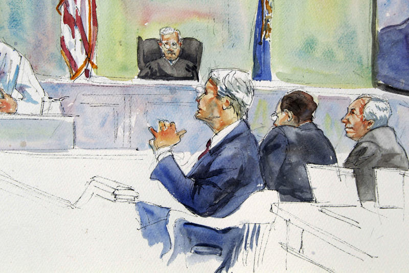In this courtroom sketch, Judge John Cleland, seated at top, listens as Joseph McGettigan III, Pennsylvania senior deputy attorney general, seated foreground-center, questions Victim No. 4, not seen, during the first day of the child sexual abuse trial of former Penn State University assistant football coach Jerry Sandusky, far right, at the Centre County Courthouse in Bellefonte, Pa., Monday, June 11, 2012. Sandusky is charged with 52 counts of child sexual abuse involving 10 boys over a period of 15 years. (AP Photo/Aggie Kenny)