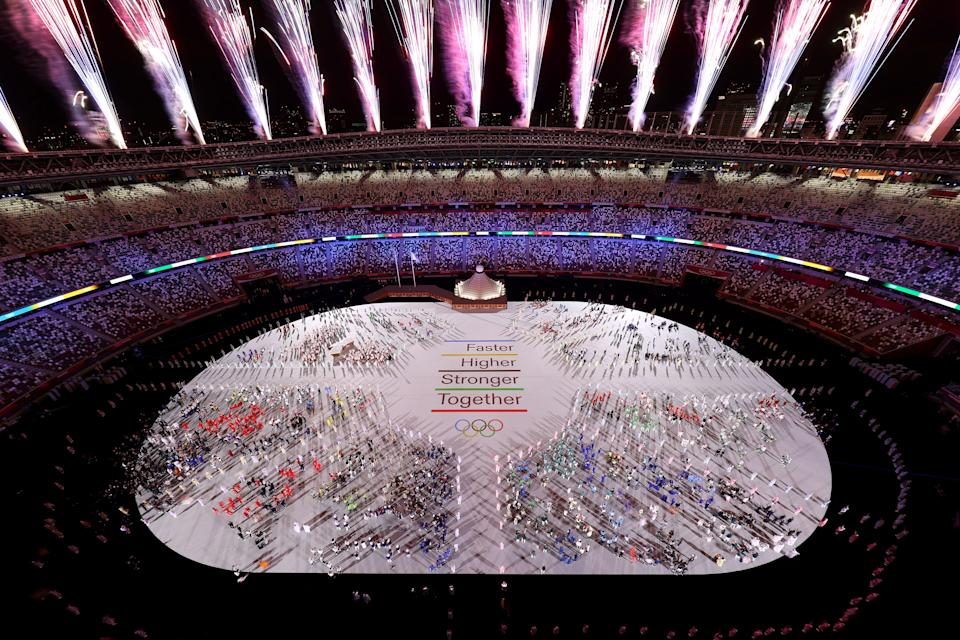 <p>TOKYO, JAPAN - JULY 23: Fireworks explode during the Opening Ceremony of the Tokyo 2020 Olympic Games at Olympic Stadium on July 23, 2021 in Tokyo, Japan. (Photo by Richard Heathcote/Getty Images)</p>
