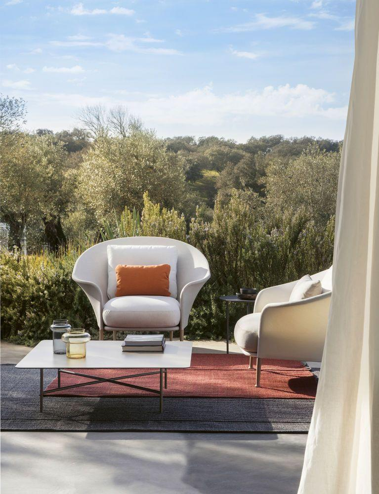 """<p>Advances in technical fabrics mean outdoor comfort is at last assured, without having to bring everything indoors every time a rain cloud threatens. So it's goodbye plastic chairs and hard wooden benches and hello properly squashy cushions and soft rugs just made for lounging in the sunshine – these 'Liz' outdoor armchairs are by Ludovica & Roberto Palomba for <a href=""""https://expormim.com/"""" rel=""""nofollow noopener"""" target=""""_blank"""" data-ylk=""""slk:Expormim"""" class=""""link rapid-noclick-resp"""">Expormim</a>. For more ideas, see our guide to <a href=""""https://elledecoration.co.uk/decorating/materials/a33310774/the-best-outdoor-fabrics-for-garden-furniture/"""" rel=""""nofollow noopener"""" target=""""_blank"""" data-ylk=""""slk:outdoor fabrics for garden furniture"""" class=""""link rapid-noclick-resp"""">outdoor fabrics for garden furniture</a>.<br></p>"""