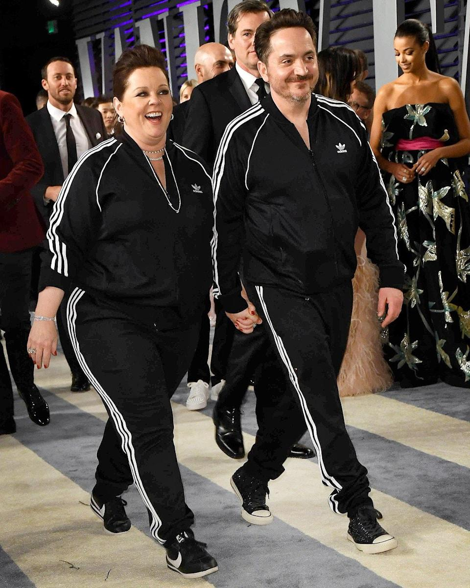 """<h1 class=""""title"""">February 25: Melissa McCarthy and Ben Falcone</h1> <div class=""""caption""""> Melissa McCarthy and Ben Falcone hit the Vanity Fair Oscars party in the other kind of awards show black suit. </div> <cite class=""""credit"""">Birdie Thompson</cite>"""