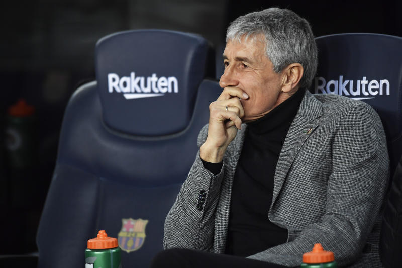 Quique Setien during the match between FC Barcelona and Granada CF, corresponding to the week 20 of the Liga Santander, played at the Camp Nou Stadium, on 20th January 2020, in Barcelona, Spain. (Photo by Rosdemora/Urbanandsport /NurPhoto via Getty Images)