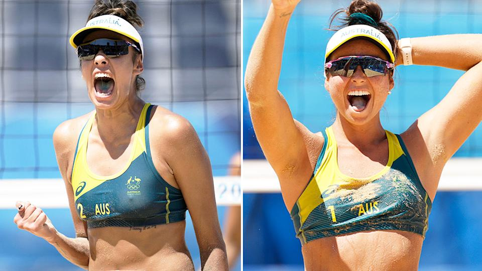 Seen here, Aussies Taliqua Clancy and Mariafe Artacho Del Solar are playing for gold in the women's volleyball.