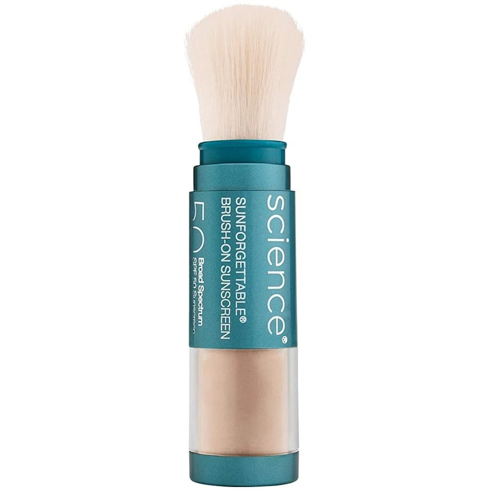 """<a href=""""https://www.allure.com/gallery/best-of-beauty-skin-care-product-winners?mbid=synd_yahoo_rss"""" rel=""""nofollow noopener"""" target=""""_blank"""" data-ylk=""""slk:Colorescience's Sunforgettable Total Protection Brush-On Shield SPF 50"""" class=""""link rapid-noclick-resp"""">Colorescience's Sunforgettable Total Protection Brush-On Shield SPF 50</a> makes applying (and reapplying) your <a href=""""https://www.allure.com/gallery/editors-favorite-sunscreens?mbid=synd_yahoo_rss"""" rel=""""nofollow noopener"""" target=""""_blank"""" data-ylk=""""slk:sunscreen"""" class=""""link rapid-noclick-resp"""">sunscreen</a> throughout the day a breeze. This is probably why the mineral SPF gets the seal of approval from <a href=""""https://www.allure.com/story/skin-care-routines-of-dermatologists?mbid=synd_yahoo_rss"""" rel=""""nofollow noopener"""" target=""""_blank"""" data-ylk=""""slk:dermatologists"""" class=""""link rapid-noclick-resp"""">dermatologists</a> time and time again. In addition to the non-chalky finish, the four shades that the sunscreen comes in each offer a light layer of blemish coverage on days when you prefer to go easy on the <a href=""""https://www.allure.com/gallery/best-of-beauty-base-makeup-product-winners?mbid=synd_yahoo_rss"""" rel=""""nofollow noopener"""" target=""""_blank"""" data-ylk=""""slk:base makeup"""" class=""""link rapid-noclick-resp"""">base makeup</a>. $69, Amazon. <a href=""""https://www.amazon.com/Colorescience-Sunforgettable-Mineral-Sunscreen-Brush/dp/B00RM4R0K0"""" rel=""""nofollow noopener"""" target=""""_blank"""" data-ylk=""""slk:Get it now!"""" class=""""link rapid-noclick-resp"""">Get it now!</a>"""