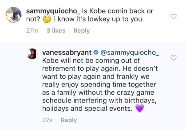 Vanessa Bryant shot down rumors that her husband Kobe is returning to the Lakers. (Instagram)