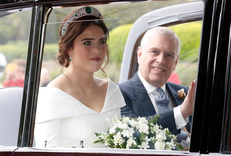 Princess Eugenie and Prince Andrew ahead of the Royal wedding of Princess Eugenie of York and Mr. Jack Brooksbank at St. George's Chapel on October 12, 2018 in Windsor, England.