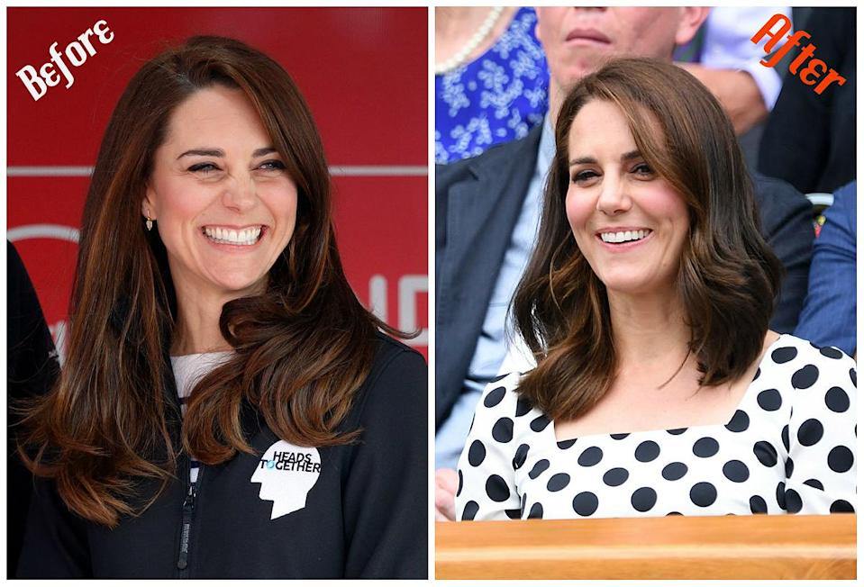 """<p>When: July 3, 2017<br>Kate Middleton debuted a shorter, more youthful layered cut. Already dubbed the """"Middy-Cut, Kate's new 'do is longer in the back and features graduated layers at the front. It was likely volumized at the roots with a round brush and blow dryer and then set with a wand to create classic waves. (Photos: Getty) </p>"""