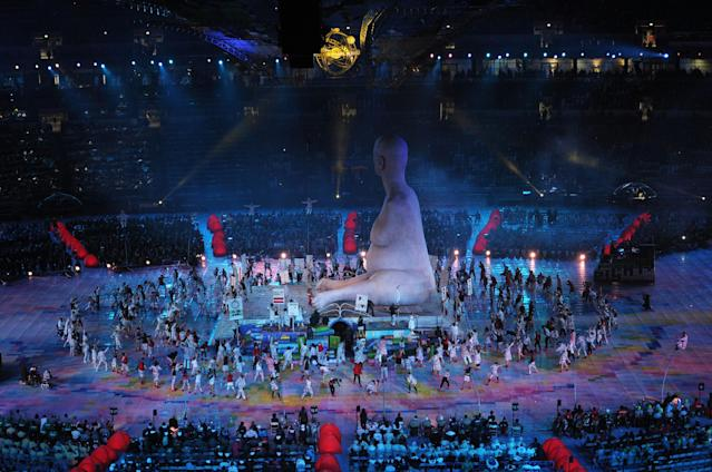 LONDON, ENGLAND - AUGUST 29: A large scale reproduction of Marc Quinn's celebrated sculpture 'Alison Lapper Pregnant' emerges during the Opening Ceremony of the London 2012 Paralympics at the Olympic Stadium on August 29, 2012 in London, England. (Photo by Dennis Grombkowski/Getty Images)