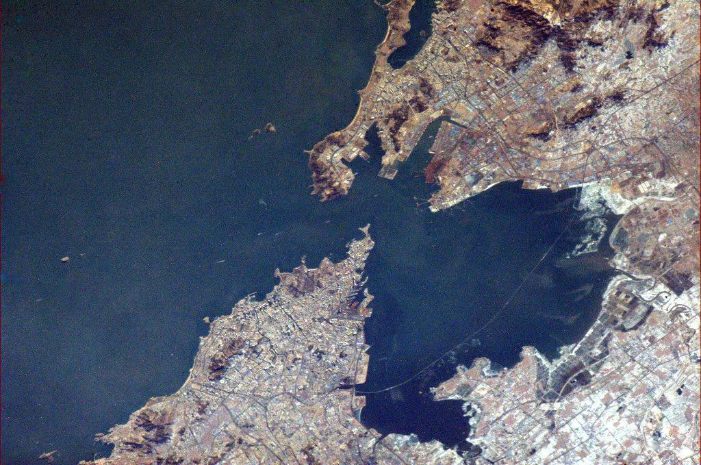 Here is a closer view of Qingdao (Tsingtao). Much easier to see the bridge in this photo. (Chris Hadfield/Twitter)