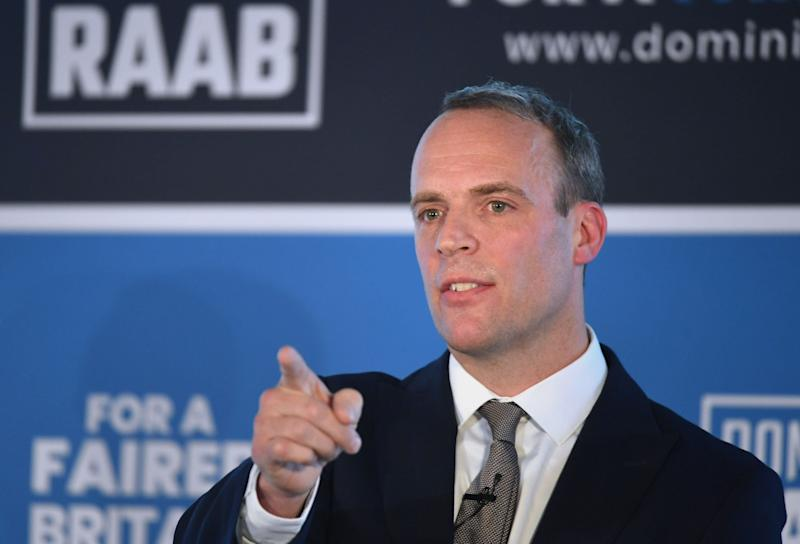 Former Brexit Secretary Dominic Raab launches his campaign in central London to become leader of the Conservative and Unionist Party and Prime Minister. (Photo by Stefan Rousseau/PA Images via Getty Images)