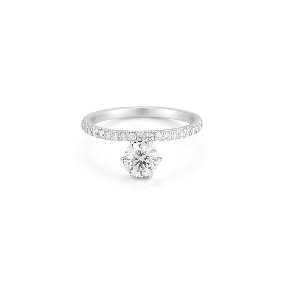 """""""Extra prongs really enhance the shape [of stones], particularly round stones,"""" Zimmerman says, noting that the traditional four-prong setting can make a round stone look more angular. $3300, Jade Trau. <a href=""""https://jadetrau.com/collections/rings/products/astor-2"""" rel=""""nofollow noopener"""" target=""""_blank"""" data-ylk=""""slk:Get it now!"""" class=""""link rapid-noclick-resp"""">Get it now!</a>"""