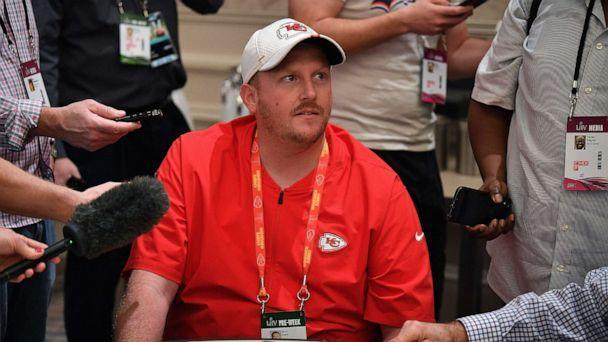 PHOTO: Britt Reid Linebackers coach for the Kansas City Chiefs speaks to the media during the Kansas City Chiefs media availability prior to Super Bowl LIV at the JW Marriott Turnberry on Jan. 29, 2020 in Aventura, Fla. (Mark Brown/Getty Images, FILE)