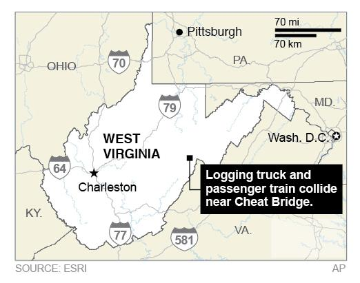 Map locates Cheat Bridge in West Virginia, the site of a collision between a logging truck and a passenger train.; 2c x 3 inches; 96.3 mm x 76 mm;