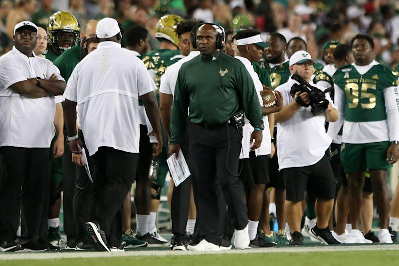 TAMPA, FL - AUGUST 30: South Florida's Head Coach Charlie Strong walks the sidelines during the College Football game between the Wisconsin Badgers and the South Florida Bulls on August 30, 2019 at Raymond James Stadium in Tampa, FL. (Photo by Cliff Welch/Icon Sportswire via Getty Images)