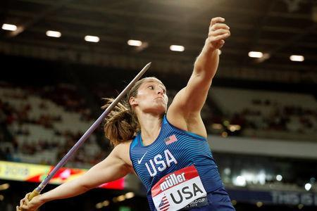 Athletics - World Cup London 2018 - London Stadium, London, Britain - July 14, 2018 Kara Winger of the U.S. during the Women's Javelin Action Images via Reuters/John Sibley