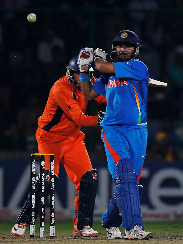 India vs Netherlands at Delhi on 9 March 2011: Zaheer Khan, Yuvraj Singh and Piyush Chawla knocked the stuffing out of the Dutch top and middle-order as the 'Men in Orange' were wobbling at 108 for 6 in the 35th over; and only a late burst from captain Peter Borren (38) helped Netherlands struggle their way to 189 in 46.4 overs. Zaheer (3-20) was the most successful of India's bowlers, while Yuvraj and Chawla took two wickets each.  Virender Sehwag (39 from 26 deliveries) set off like a house on fire, but Netherlands left-arm spinner Pieter Seelar dismissed him, Sachin Tendulkar and Yusuf Pathan as India slipped to 99 for 4 inside 15 overs. It took another composed half-century from Yuvraj Singh (51*) to get India over the line in the face of a spirited Dutch fightback.