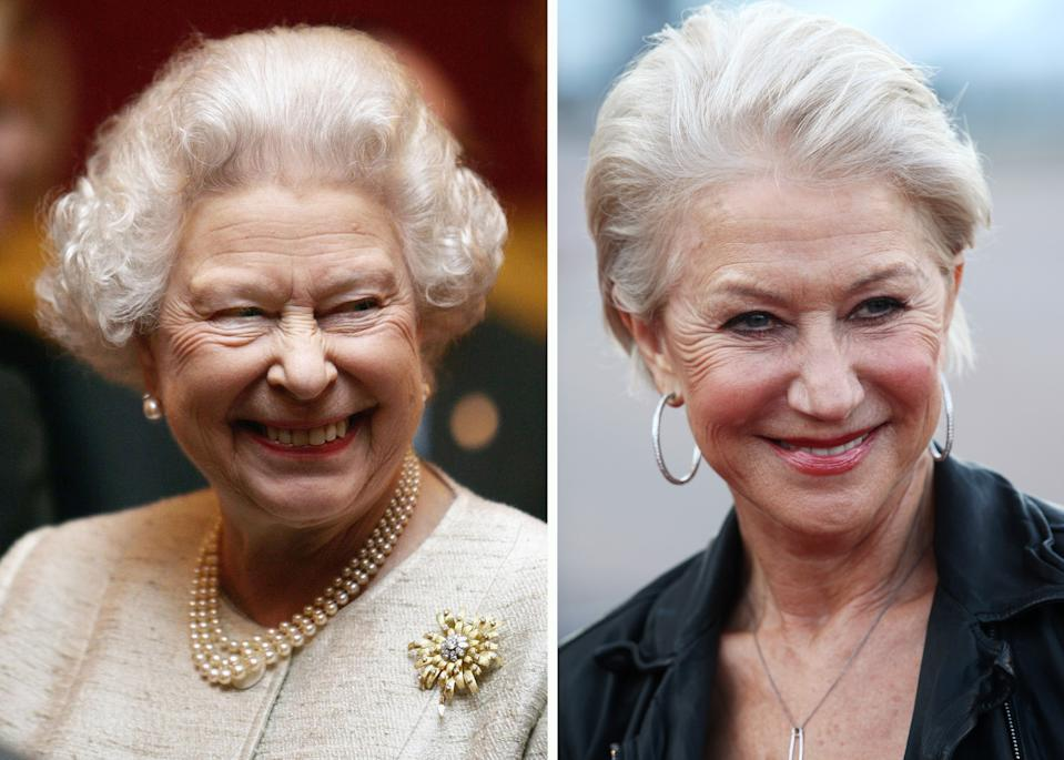 (FILE PHOTO) In this composite image a comparison has been made between Queen Elizabeth II (L) and Actress Dame Helen Mirren. Oscar hype begins this week with the announcement of the nominations for the 69th annual Golden Globes and the 18th Annual Screen Actors Guild Awards. Luise Rainer became the first actress to receive an Academy Award for her role in the 1936 biopic 'The Great Ziegfeld,' playing stage performer Anna Held. Over half of the last ten Oscars for best actor or actress have been for performances in a biopic. The trend continues this year with the nominations for actors Michelle Williams, Meryl Streep, Viggo Mortensen, Brad Pitt and Leonardo DiCaprio for their roles in 'My Week With Marilyn.' 'The Iron Lady,' 'A Dangerous Method,' 'Moneyball' and 'J Edgar.'  ***LEFT IMAGE****LONDON - NOVEMBER 28:   Britain's Queen Elizabeth II attends a reception at St James's Palace to mark the 350th aniversary of the re-establishment of the Jewish community in Britain, November 28, 2006 in London, England. (Photo by Pool/Anwar Hussein Collection/Getty Images)***RIGHT IMAGE***LONDON, ENGLAND - APRIL 19:  (UK TABLOID NEWSPAPERS OUT) Actress Dame Helen Mirren attends the European premiere of Arthur at the Cineworld O2 on April 19, 2011 in London, England.  (Photo by Dave Hogan/Getty Images)
