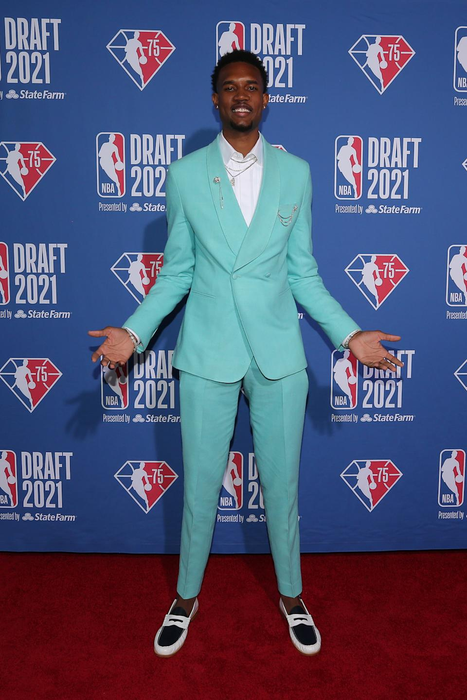 Evan Mobley arrives on the red carpet before the 2021 NBA draft at Barclays Center. (Brad Penner/USA TODAY Sports)