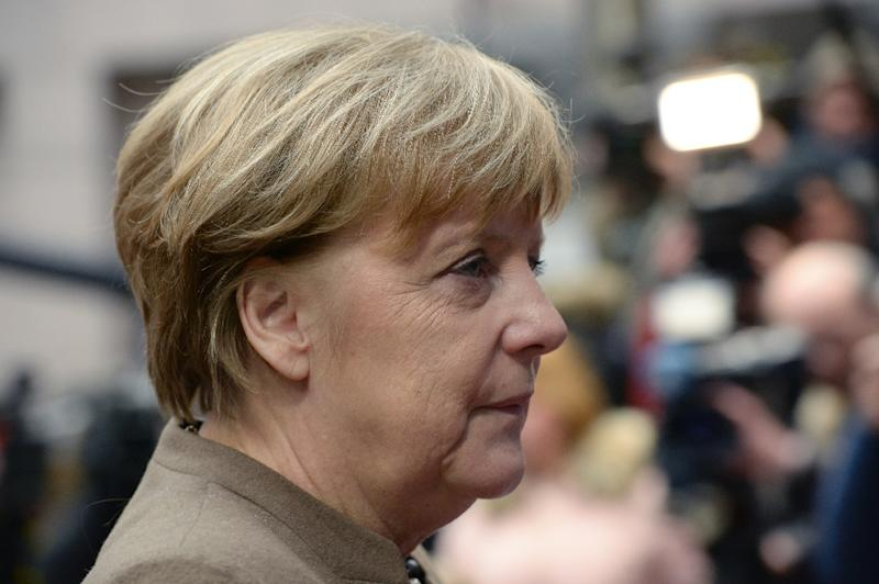 Germany's Chancellor Angela Merkel arrives for an EU summit in Brussels, on February 18, 2016 (AFP Photo/Thierry Charlier)