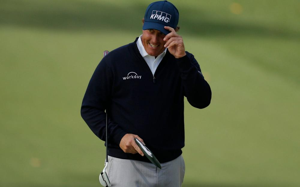 Phil Mickelson of the U.S. celebrates a birdie putt on the tenth hole in second round play during the 2017 Masters golf tournament at Augusta National Golf Club in Augusta, Georgia, U.S., April 7, 2017 - Credit: Reuters