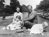 <p>The Queen spends some much-deserved free time with her young family in 1951 on the grounds of Clarence House in London. </p>