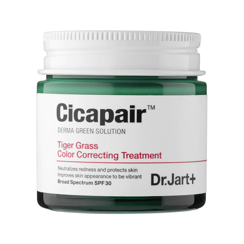 """Yes, this color corrector you've seen all over TikTok really is that good. In addition to instantly canceling redness and protecting your skin with SPF 30, the key ingredient cica (centella asiatica) works to calm and soothe skin right away and over time. It's so good that one of our writers <a href=""""https://www.glamour.com/story/dr-jart-cicapair-tiger-grass-color-correcter-review?mbid=synd_yahoo_rss"""" rel=""""nofollow noopener"""" target=""""_blank"""" data-ylk=""""slk:stopped wearing foundation"""" class=""""link rapid-noclick-resp"""">stopped wearing foundation</a> because of it. $52, Dr. Jart+. <a href=""""https://shop-links.co/1739840405704361205"""" rel=""""nofollow noopener"""" target=""""_blank"""" data-ylk=""""slk:Get it now!"""" class=""""link rapid-noclick-resp"""">Get it now!</a>"""