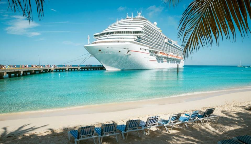 Cruise ship at the beach on Grand Turk island