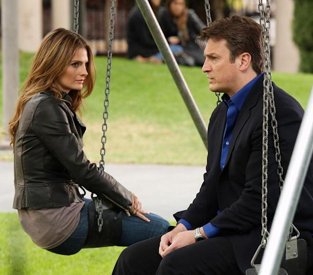 """CASTLE - """"Watershed"""" - In the Season Finale, an interview with a high-profile federal law enforcement agency forces Beckett to reconsider what she wants out of her job -- and out of her relationship with Castle. Meanwhile, the body of a young woman is found floating inside the water tank of a skid row flop house, but as the team investigate, they discover that her final resting place is just one of many strange things about her death, on """"Castle,"""" MONDAY, MAY 13 (10:01-11:00 p.m., ET) on the ABC Television Network. (ABC/Richard Cartwright) STANA KATIC, NATHAN FILLION"""