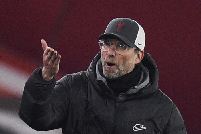 Liverpool's manager Jurgen Klopp gestures during the English Premier League soccer match between Sheffield United and Liverpool at Bramall Lane stadium in Sheffield, England, Sunday, Feb. 28, 2021. (Oli Scarff, Pool via AP)