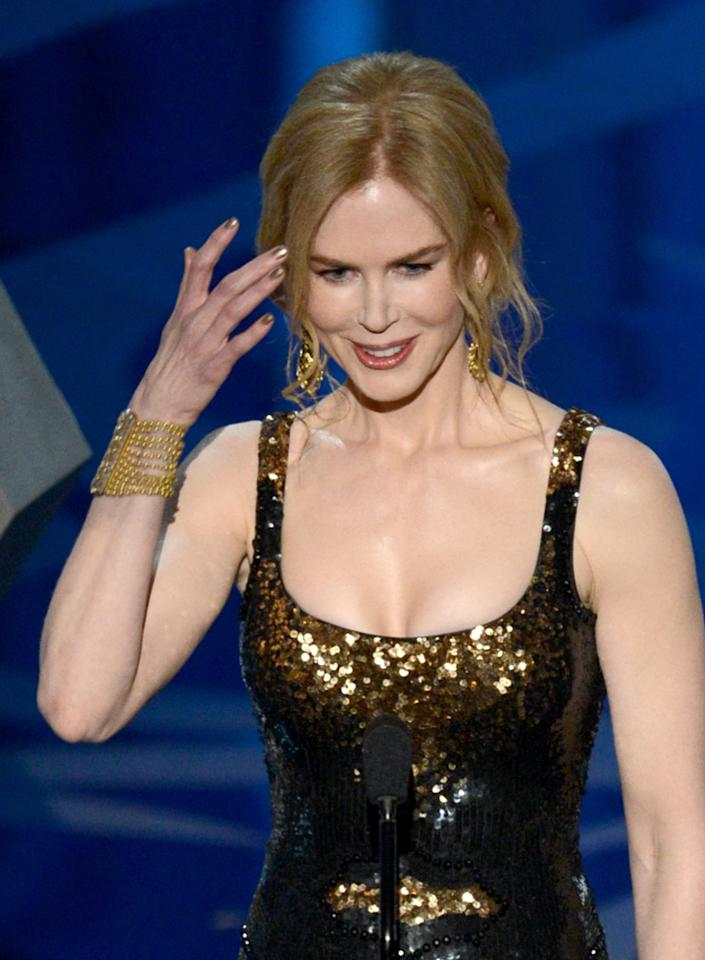 HOLLYWOOD, CA - FEBRUARY 24:  Actress Nicole Kidman presents onstage during the Oscars held at the Dolby Theatre on February 24, 2013 in Hollywood, California.  (Photo by Kevin Winter/Getty Images)