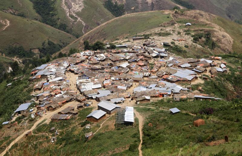A general view shows a village near the Marco gold mine in Mukungwe locality in Walungu territory of South Kivu
