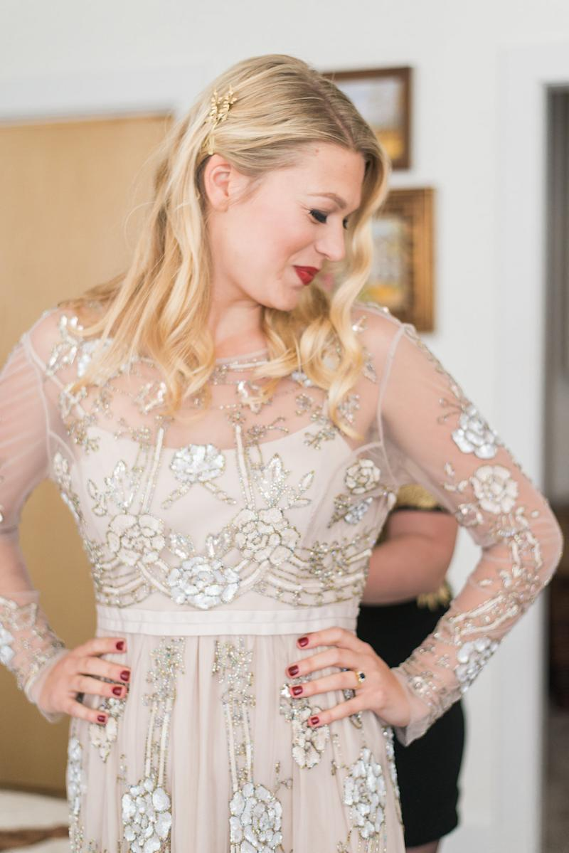 """The bride went to <a href=""""http://www.huffingtonpost.com/topic/bhldn"""">BHLDN</a>for her dress. """"When you plan a wedding in six weeks, you need a dress that fits and can be taken home that day."""""""