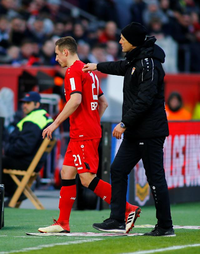 Soccer Football - Bundesliga - Bayer Leverkusen vs Schalke 04 - BayArena, Leverkusen, Germany - February 25, 2018 Bayer Leverkusen's Dominik Kohr with coach Heiko Herrlich after being sent off REUTERS/Thilo Schmuelgen DFL RULES TO LIMIT THE ONLINE USAGE DURING MATCH TIME TO 15 PICTURES PER GAME. IMAGE SEQUENCES TO SIMULATE VIDEO IS NOT ALLOWED AT ANY TIME. FOR FURTHER QUERIES PLEASE CONTACT DFL DIRECTLY AT + 49 69 650050