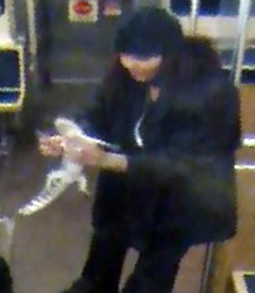 This security camera image provided by the Chicago Transit Authority on Wednesday, Nov. 13, 2013 shows a woman with a two-foot-long alligator aboard a CTA Blue Line train early in the morning of Nov. 1, 2013 in Chicago. Authorities are searching for the woman, who they believe discarded the reptile at O'Hare International Airport. The two-foot-long alligator was captured hours later after a maintenance worker found it under an escalator in a baggage claim area. (AP Photo/Chicago Transit Authority)