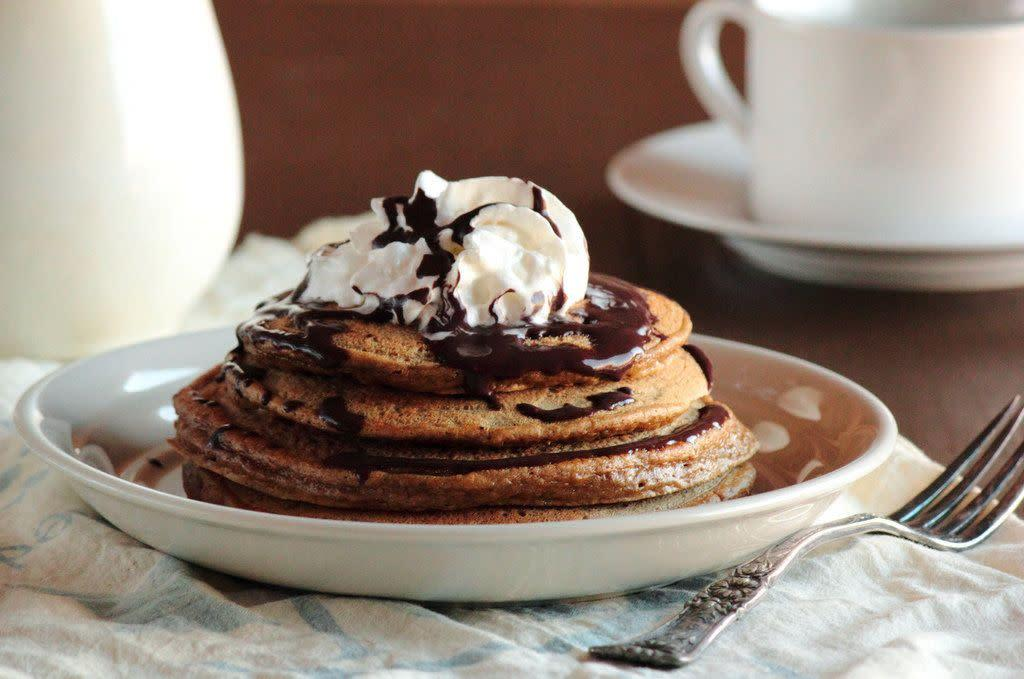 "<strong>Get the <a href=""http://www.pastryaffair.com/blog/2012/2/12/cappuccino-pancakes-with-mocha-syrup.html"" rel=""nofollow noopener"" target=""_blank"" data-ylk=""slk:Cappuccino Pancakes With Mocha Syrup recipe"" class=""link rapid-noclick-resp"">Cappuccino Pancakes With Mocha Syrup recipe</a> from Pastry Affair</strong>"