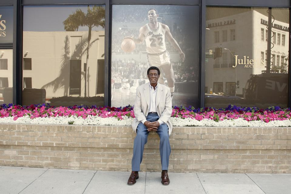 BEVERLY HILLS, CA - MAY 20:  Eleven-Time NBA All-Star Basketball Hall Of Fame Inductee Elgin Baylor poses for a photo during a  Collection Media Preview,  at Julien's Auctions Gallery on May 20, 2013 in Beverly Hills, California.  (Photo by Joe Kohen/WireImage)