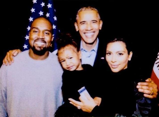"With Mom, Dad, and President Barack Obama. ""Oh Northie!!! North fell and was crying so Potus gave her White House M&M's. She smiled when I opened the box but I wanted to save them for memories so wouldn't let her eat them so she cried again,"" Kardashian wrote."