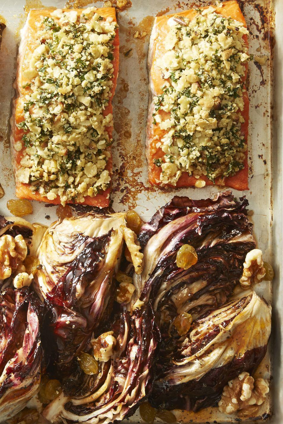 """<p>Give plain old salmon an upgrade with with matzo breadcrumbs, maple syrup, hot sauce and brown-sugar glazed radicchio.</p><p><em><a href=""""https://www.goodhousekeeping.com/food-recipes/a43218/matzo-crusted-salmon-glazed-radicchio-recipe/"""" rel=""""nofollow noopener"""" target=""""_blank"""" data-ylk=""""slk:Get the recipe for Matzo-Crusted Salmon with Glazed Radicchio »"""" class=""""link rapid-noclick-resp"""">Get the recipe for Matzo-Crusted Salmon with Glazed Radicchio »</a></em></p>"""