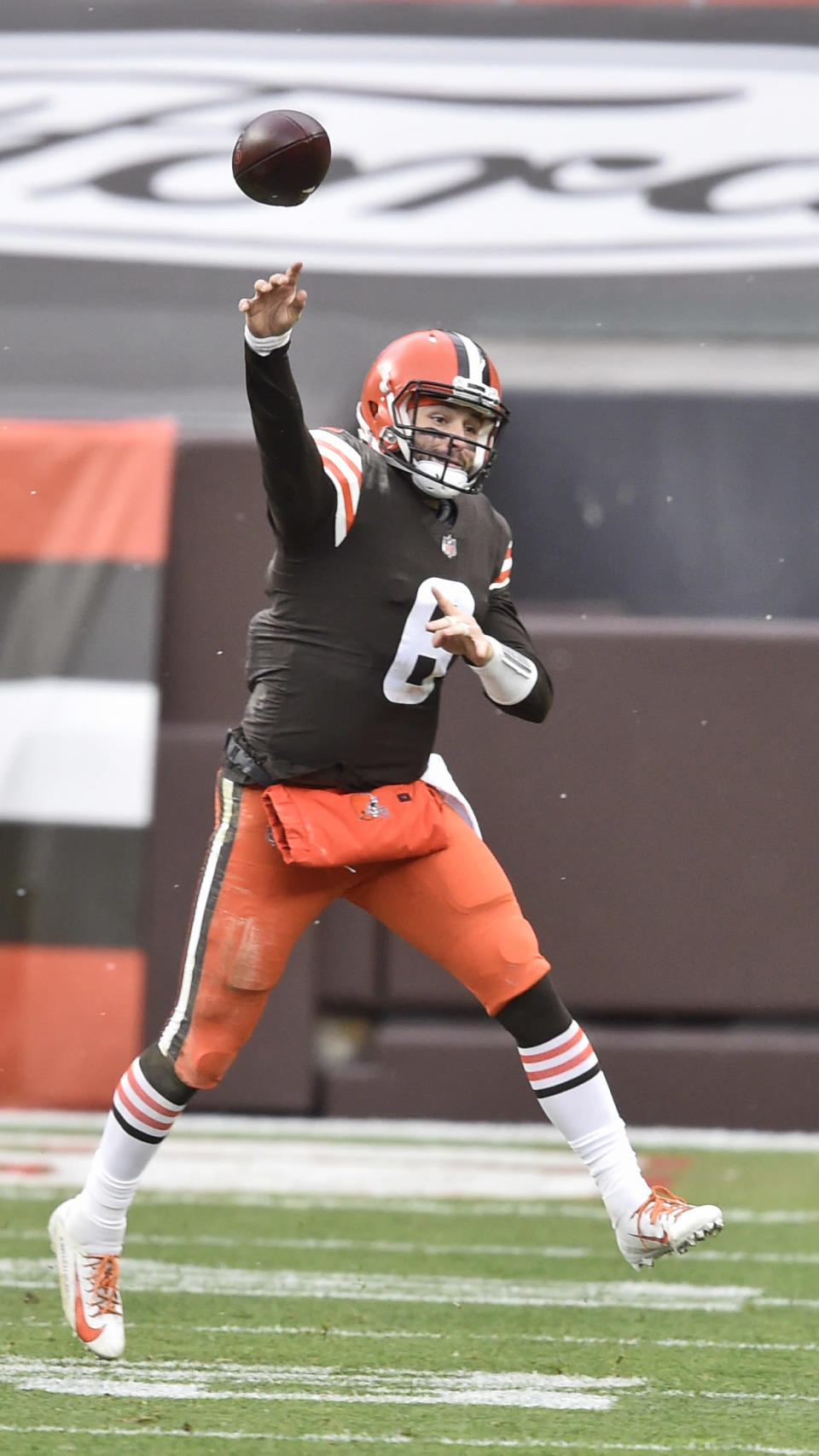 Cleveland Browns quarterback Baker Mayfield throws during the first half of an NFL football game against the Las Vegas Raiders, Sunday, Nov. 1, 2020, in Cleveland. (AP Photo/David Richard)