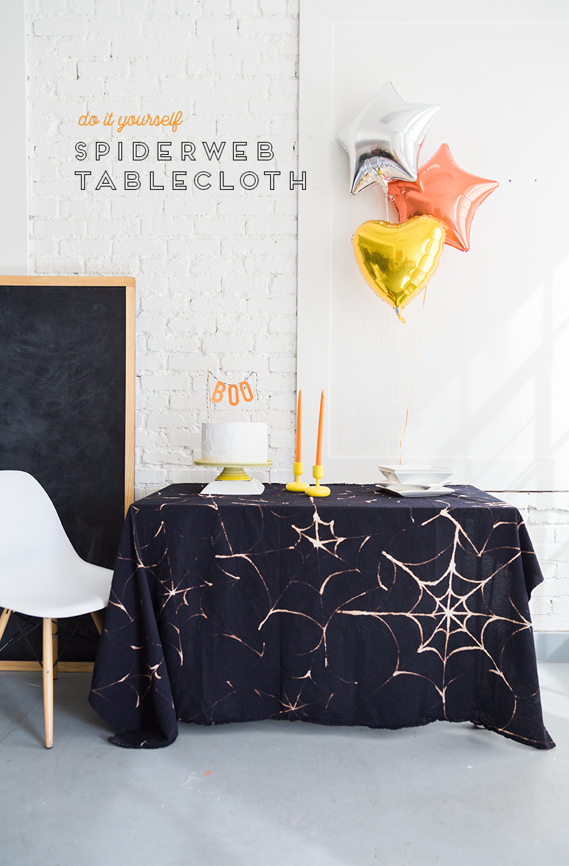 """<p>This cobweb-patterned cloth can also double as a photo backdrop if you'd prefer to hang it from a wall. </p><p><em><a href=""""http://thehousethatlarsbuilt.com/2016/10/diy-spider-web-tablecloth.html/"""" rel=""""nofollow noopener"""" target=""""_blank"""" data-ylk=""""slk:Get the tutorial at The House That Lars Built »"""" class=""""link rapid-noclick-resp"""">Get the tutorial at The House That Lars Built »</a></em><br></p>"""