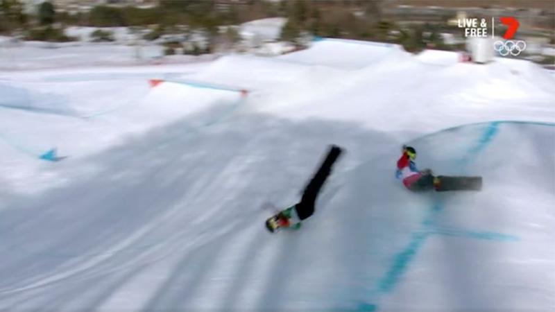 Carnage dominated the men's snowboard cross. Pic: Ch7