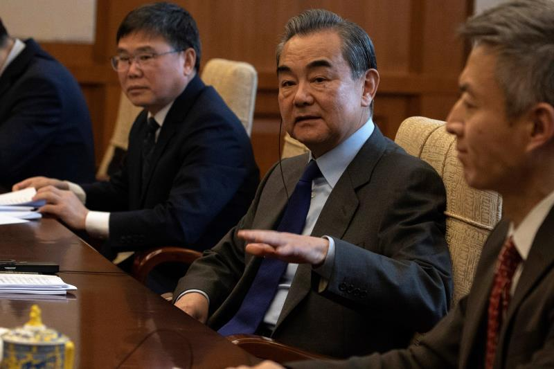 Chinese Foreign Minister Wang Yi (C) gestures during a meeting with Venezuela's Foreign Minister Jorge Arreaza (not pictured) at the Diaoyutai State Guest House in Beijing, China, 16 January 2020. EFE/EPA/Ng Han Guan / POOL