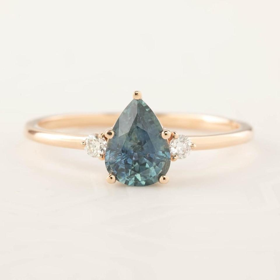 <p>Find a sapphire stone piece like this <span>Envero Jewelry Pear-Cut Sapphire Ring</span> ($1,760).</p>