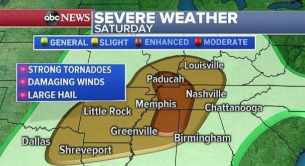 PHOTO: Tornadoes, hail and damaging winds are all possible, especially in western Tennessee and northern Mississippi. (ABC News)