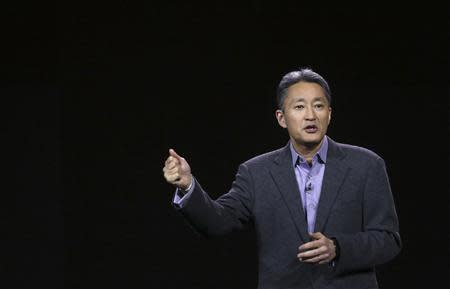 Sony CEO Hirai gestures during his keynote address at the annual Consumer Electronics Show in Las Vegas