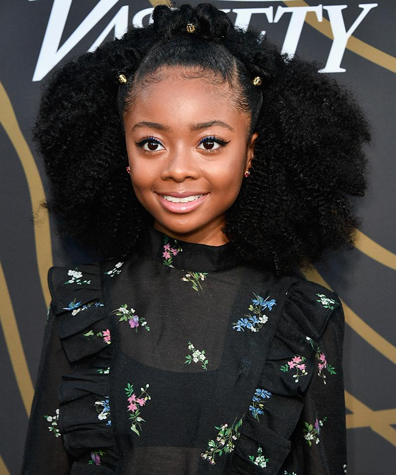 <p>The Disney star gave us serious hair envy with her bejweled half-up, half-down curly hairdo. With her thick mane swept off of her face, we get to see Jackson's gorgeous winged eyeliner and natural-looking makeup. (Photo: Frazer Harrison/Getty Images) </p>