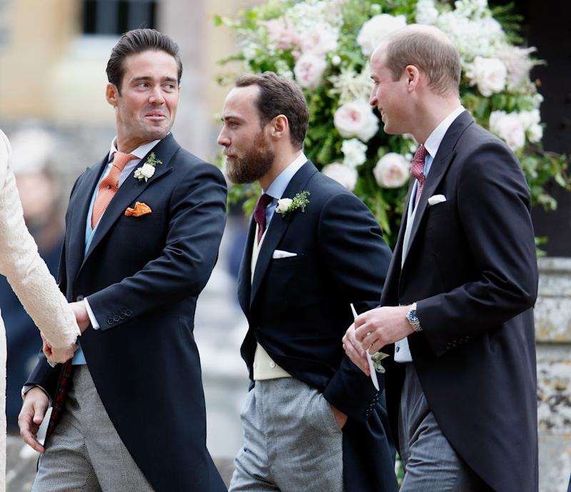 Spencer Matthews, James Middleton and Prince William, Duke of Cambridge attend the wedding of Pippa Middleton and James Matthews at St Mark's Church on May 20, 2017 in Englefield Green, England.