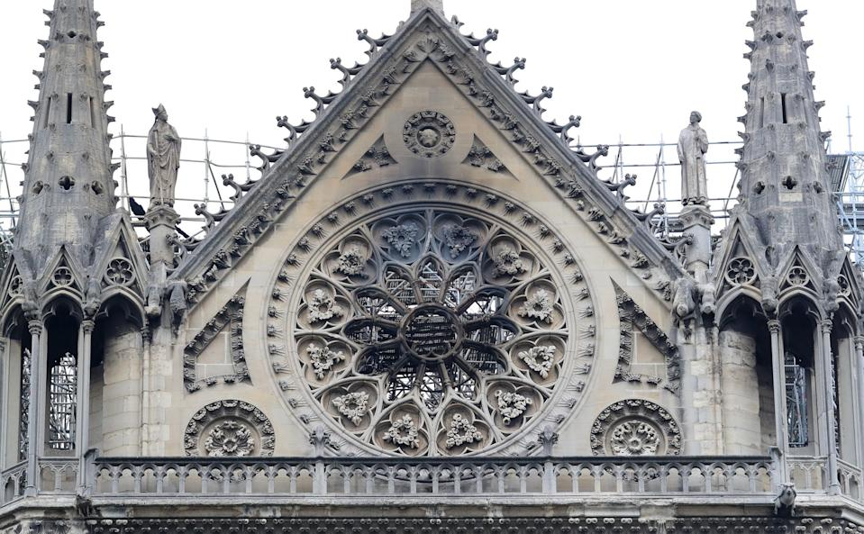Fire damage was clearly visible in the cathedral's iconic building work.