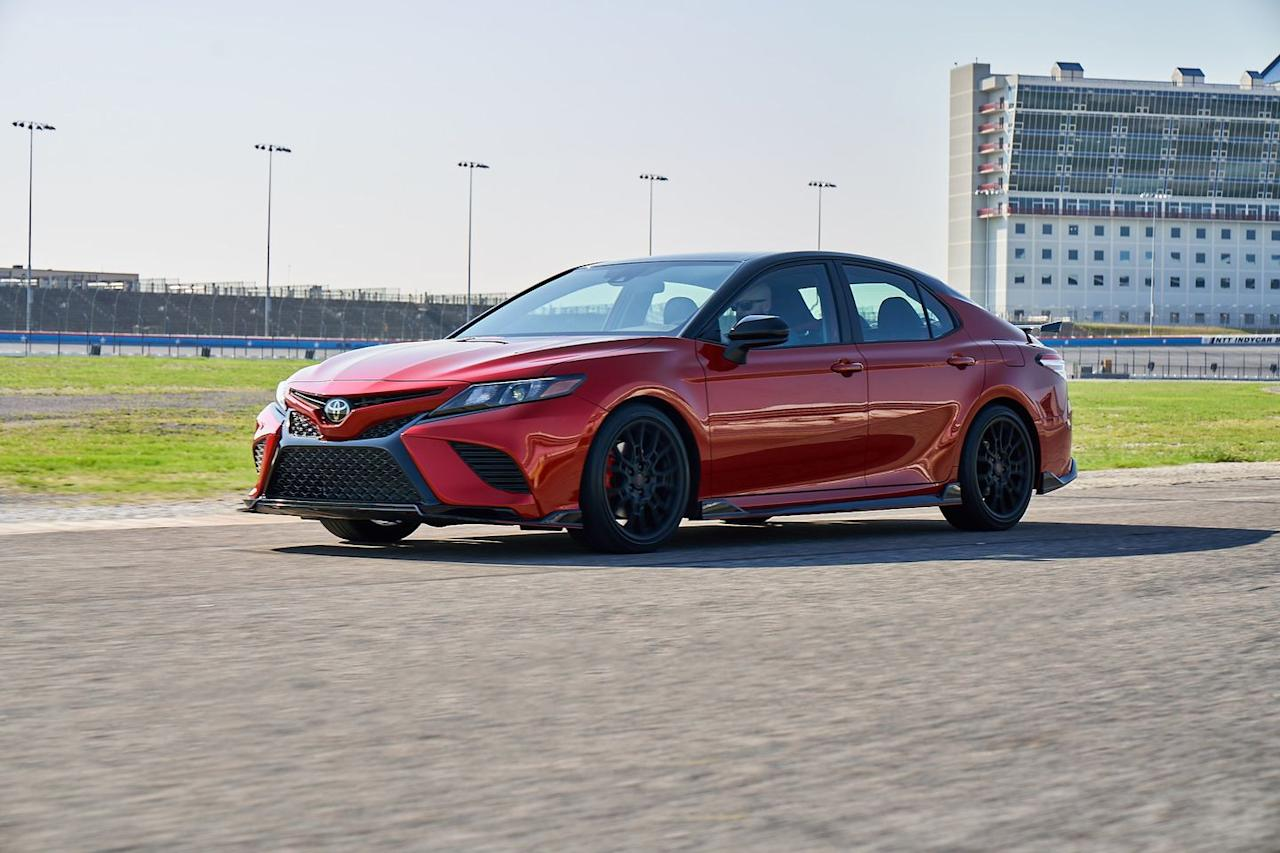 <p>Despite its boy-racer looks, including the chunky 19-inch wheels, lower body add-ons, and the strut-mounted rear wing, the Camry TRD does look better in person than in photos.</p>