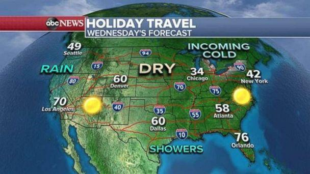 PHOTO: Travel weather will be fairly nice across most of the country on Wednesday. (ABC News)