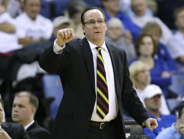 Wichita State head coach Gregg Marshall directs his team during the second half of an NCAA college basketball game against Drake, Saturday, Jan. 25, 2014, in Des Moines, Iowa. Wichita State won 78-61. (AP Photo/Charlie Neibergall)